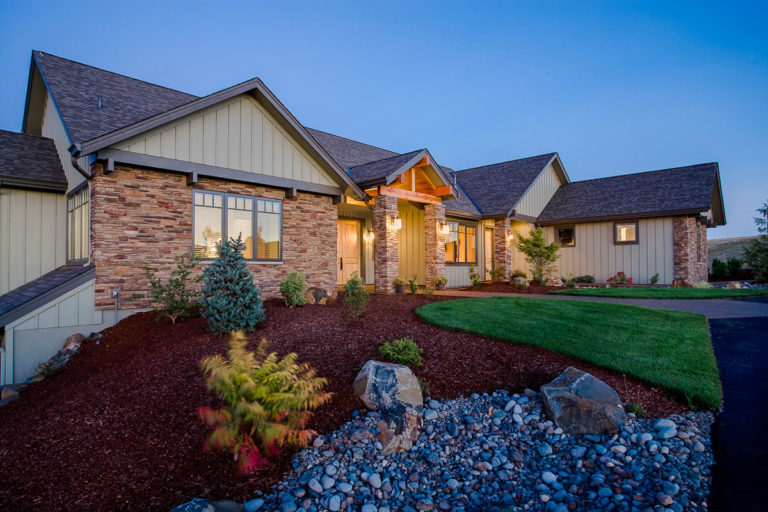 Cultured Stone, casement window, board & batten siding, exterior lighting