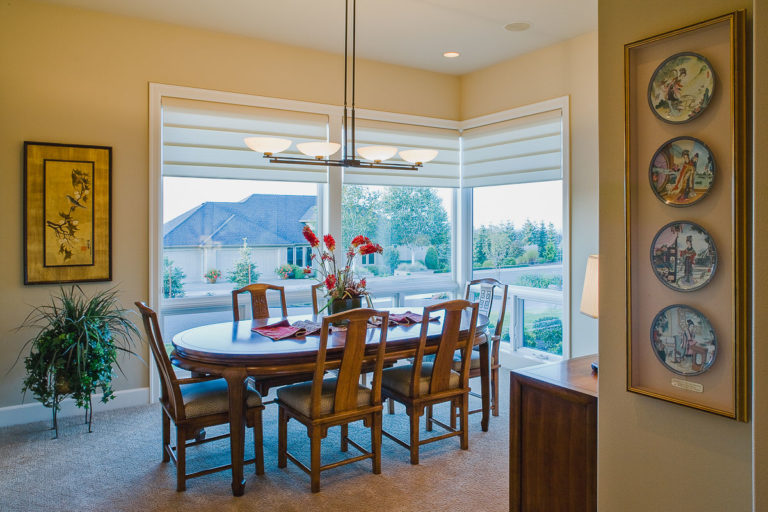 Dining room, Milgard fiberglass windows, lighting