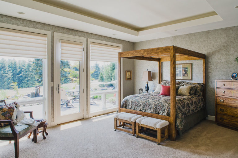master bedroom, lighting trough, recessed lighting, Milgard fiberglass windows