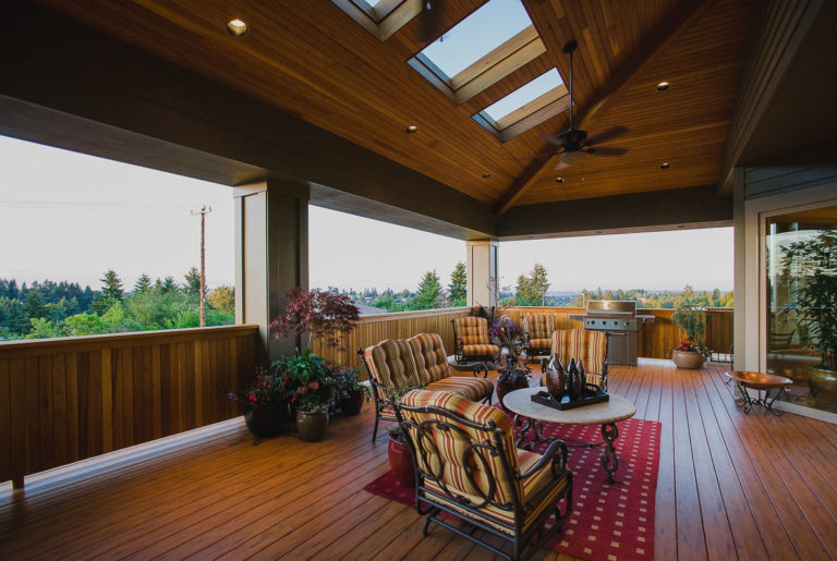 TimberTech decking, cedar ceiling, skylight, paddle fan