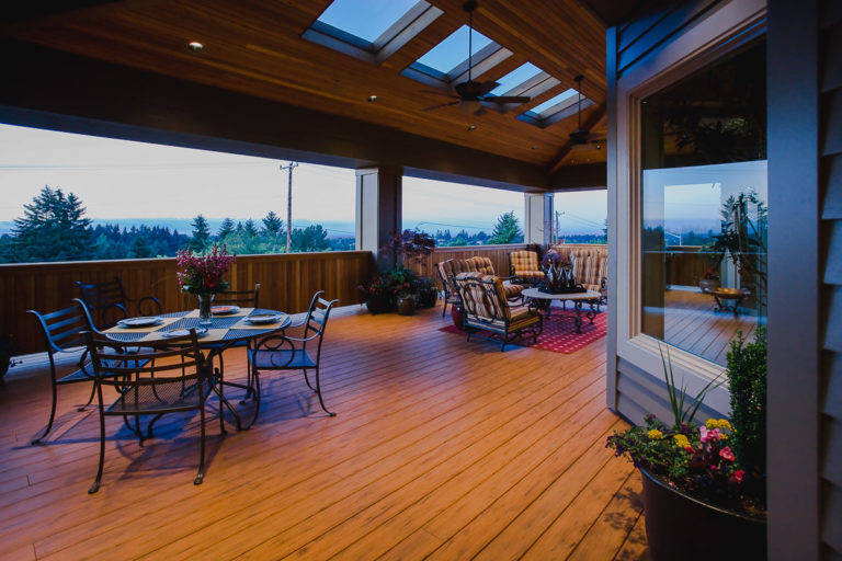 deck, skylight, paddle fan, cedar ceiling, cedar railing, TimberTech decking, Milgard vinyl window