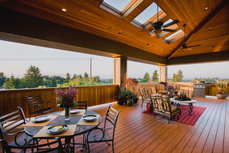 TimberTech decking, cedar railing, skylight, paddle fan, cedar ceiling, recessed lighting, outdoor living