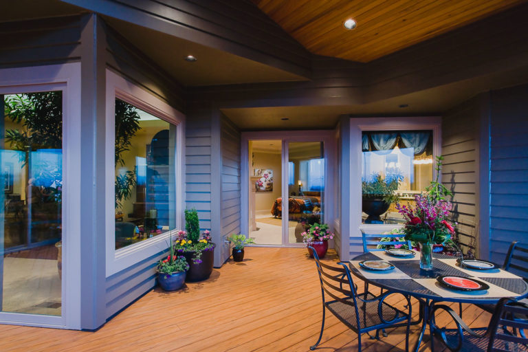 deck, Milgard window, sliding door, recessed lighting, TimberTech decking, Artisan Hardi Pank siding