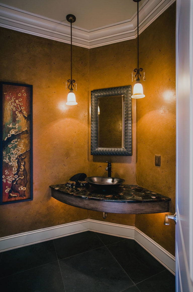 powder bath, granite counter, pendant light, framed mirror, crown molding, venetian plaster, slate floor
